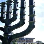 Giant menorah near the Knesset building in Jerusalem, Israel